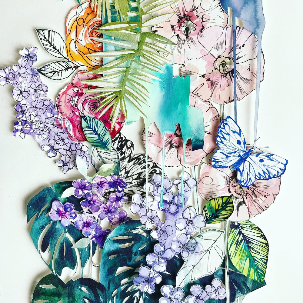Falling Garden II collage by Holly Sharpe