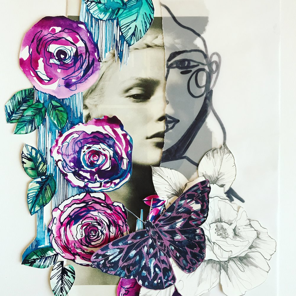 Photo + painted collage II by Holly Sharpe