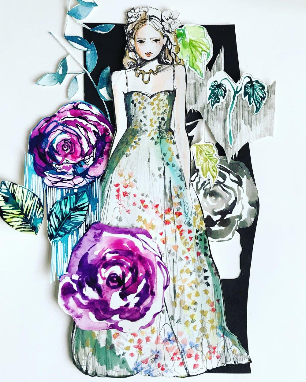 Dior Garden collage by Holly Sharpe