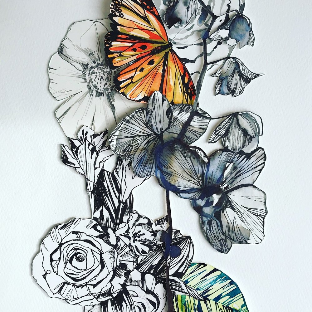 Inky orchid collage by Holly Sharpe
