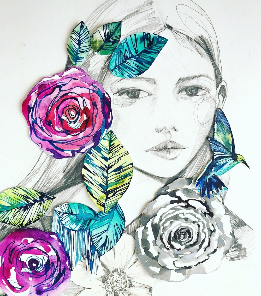 Hummingbird collage by Holly Sharpe