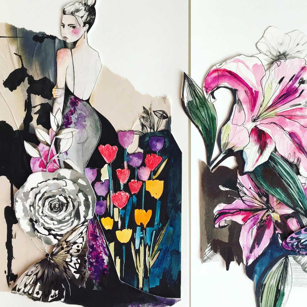 Evening Bloom + Lily watercolour collage by Holly Sharpe
