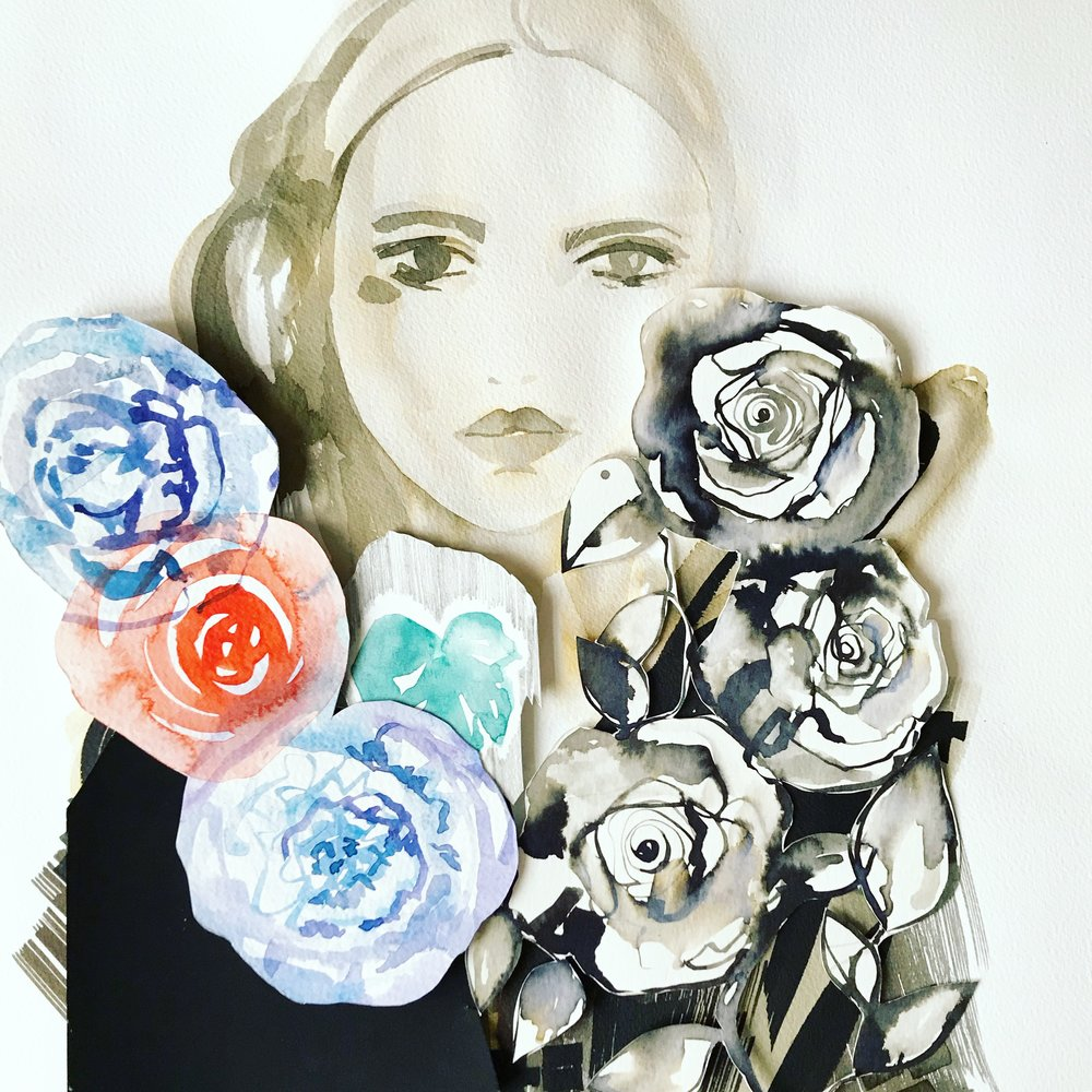 ink+ painted collage by Holly Sharpe