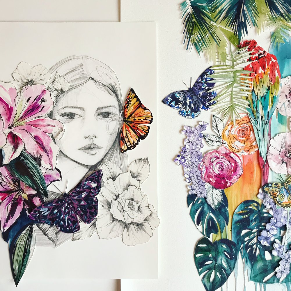 Fashion + watercolour collage by Holly Sharpe