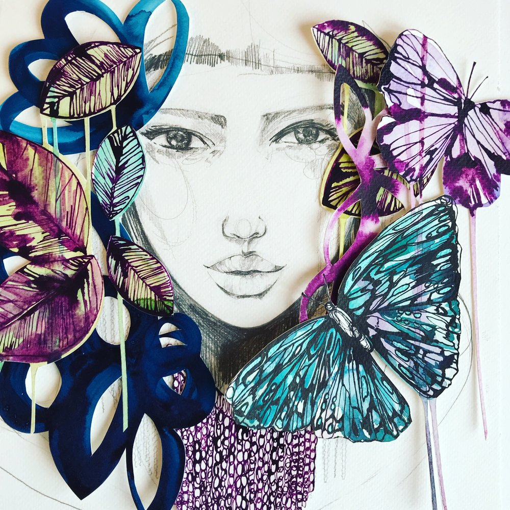 Holly Sharpe fashion collage + watercolour