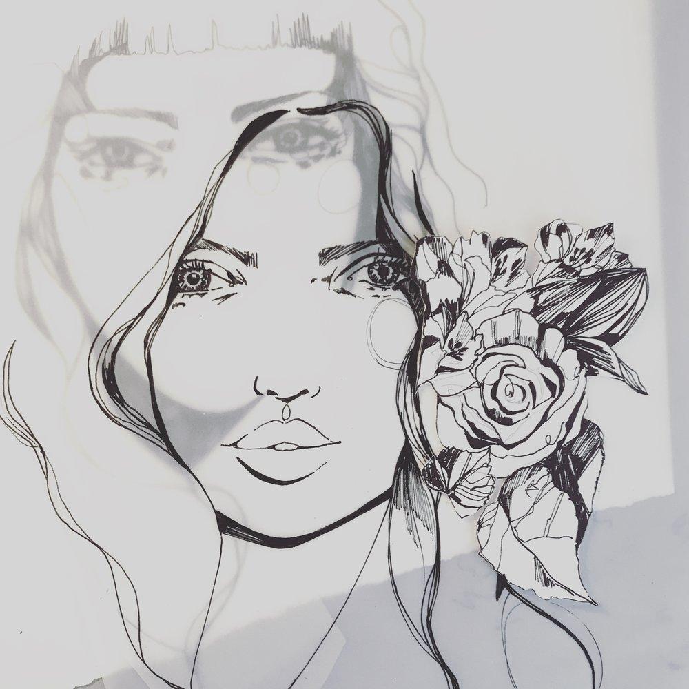 Holly Sharpe layered fashion drawing