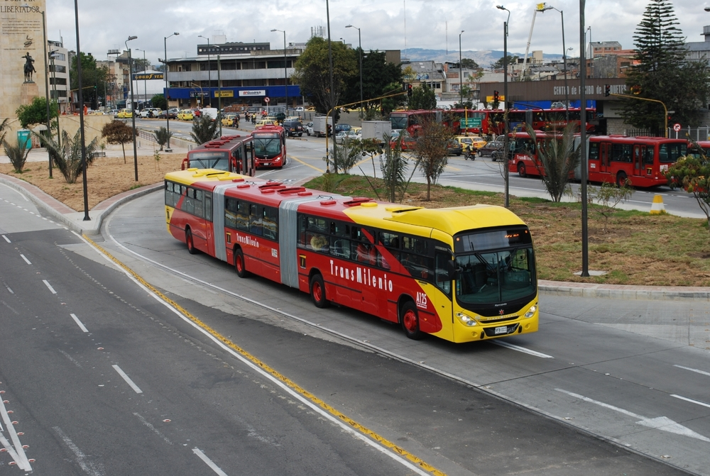 Bogota's TransMilenio: Extra high capacity (bi-articulated) bus