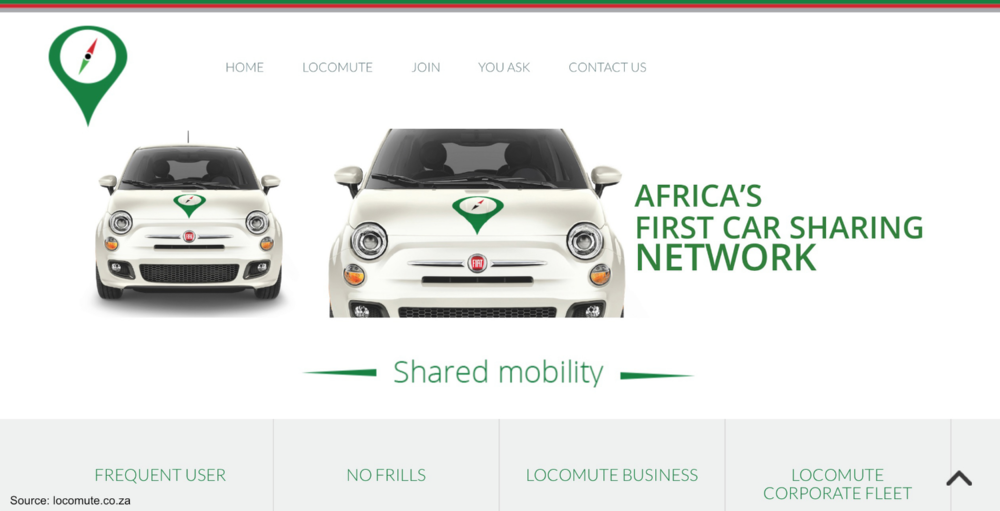 With service in South Africa, Locomute became Africa's first carsharing operator.
