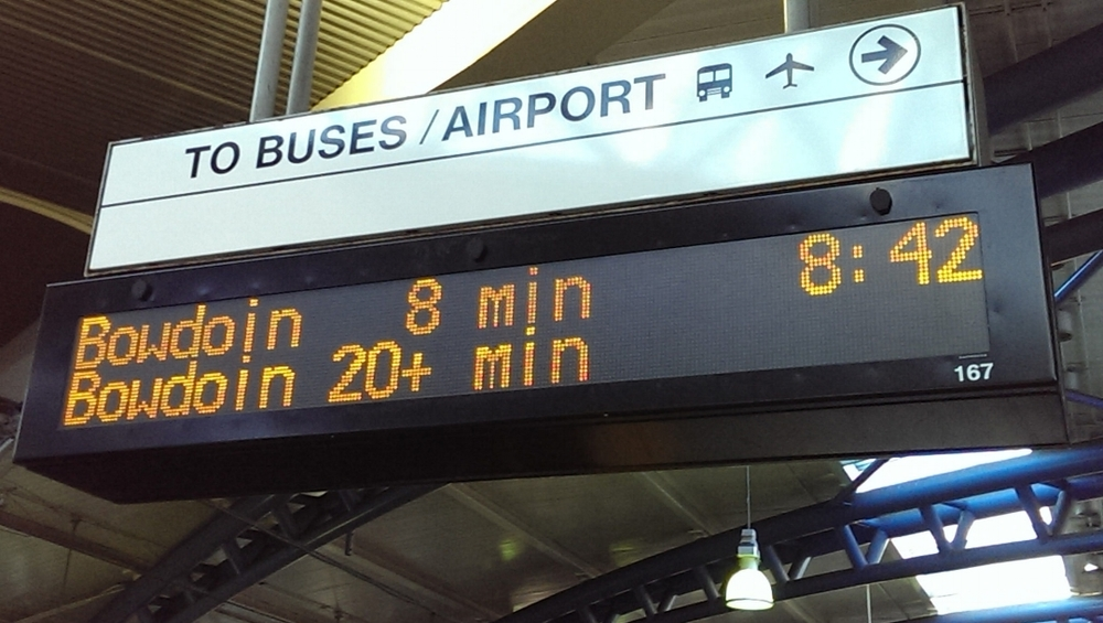 Visibility of system status:  Real time train arrival information in Boston's MBTA system. Photo credit: Charlene McBride, Flickr