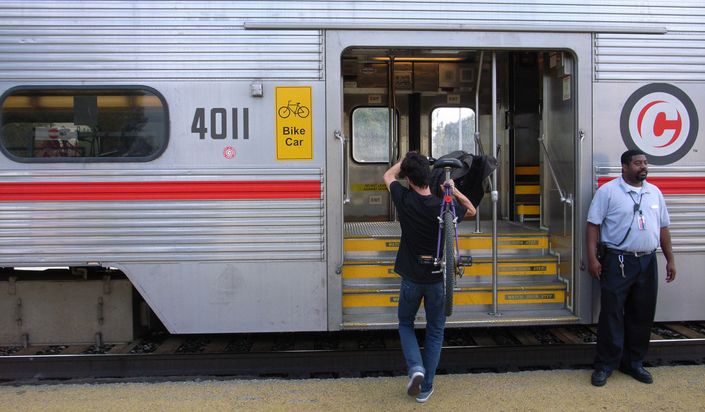 Consistent layout:  Caltrain users expect bike storage on the northern-most train car. Photo credit: Jun Seita, Flickr