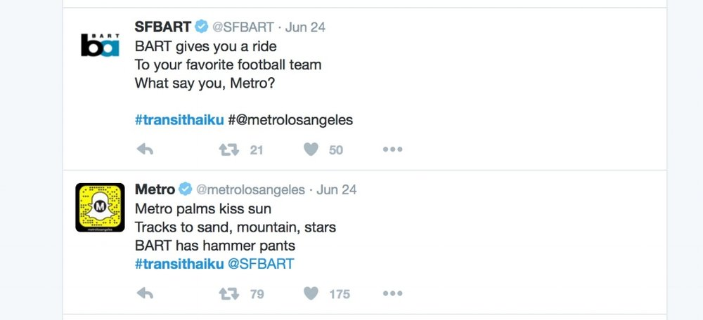 Twitter transit haiku poetry jam between SF Bart and LA Metro
