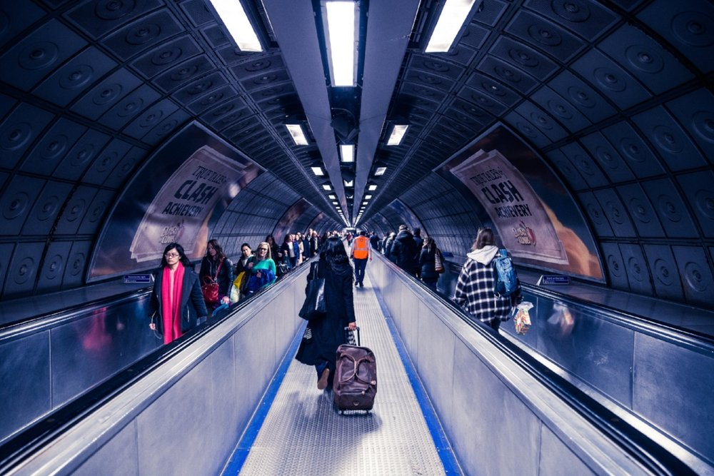 Escalators and ramps make it easy for passengers with bags to access transit