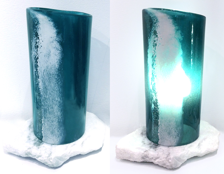 Table lamp, lagoon shade with sea foam detail