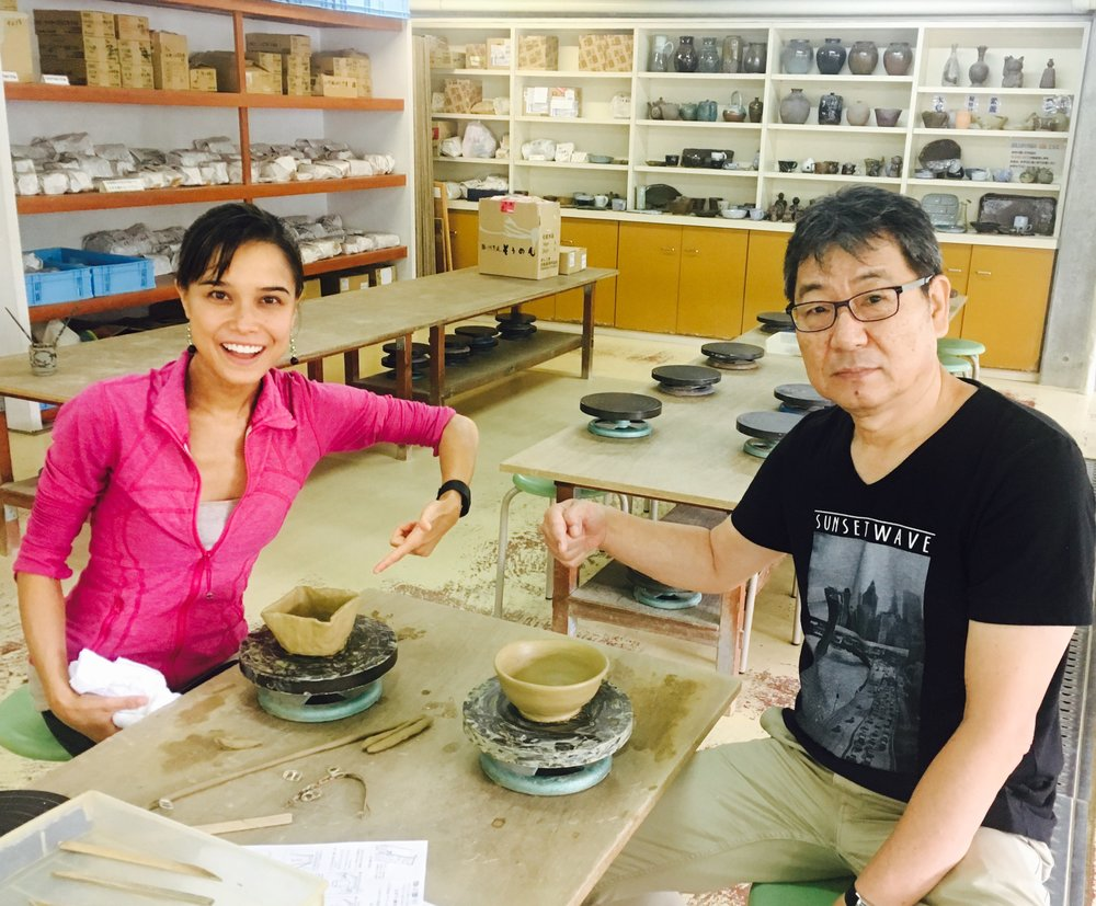 Crafting our own ceramic bowls with my Uncle! His was 100x better than mine, but at least mine had heart...literally.