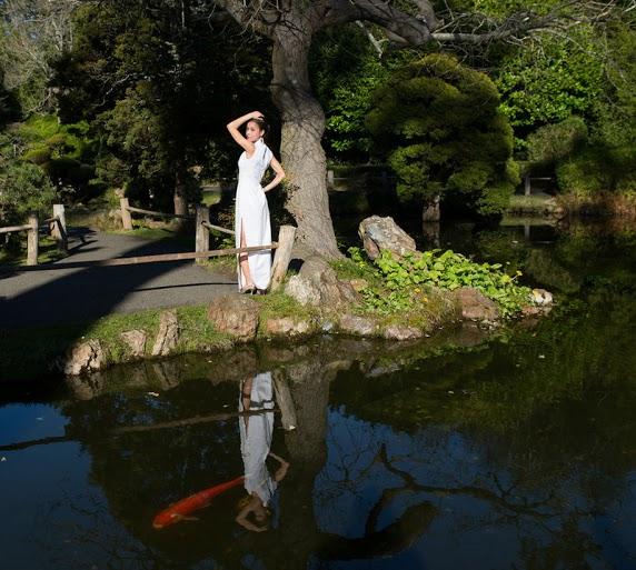 Chipao Attire in San Francisco's Japanese Tea Garden