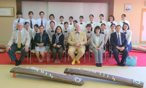 Our memorable group photo with two traditional  koto  instruments!