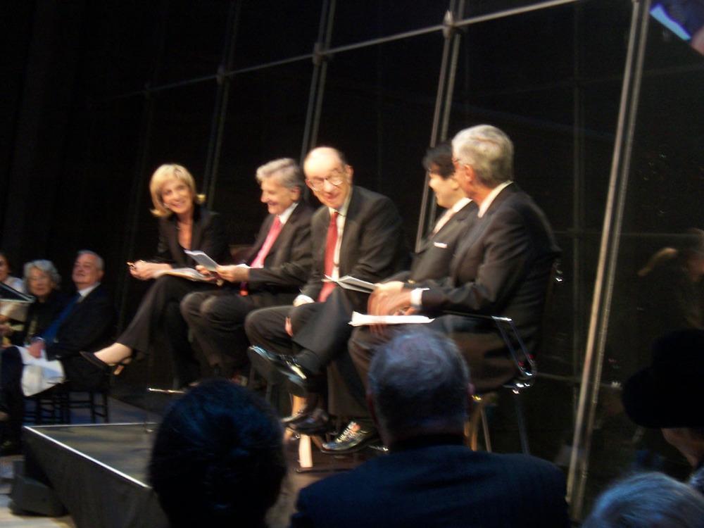 Andrea Mitchel, Jean-Claude Trichet, Alan Greenspan, Heizo Takenaka, Robert Rubin.jpg