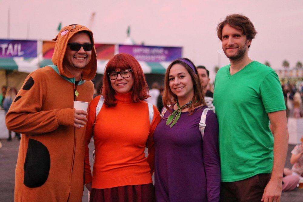Left to right: Mano Mirande (Scooby), Ana Mirande (Velma), Allison Presser (Daphne), Mike Presser (Shaggy) from Riverside, Ca