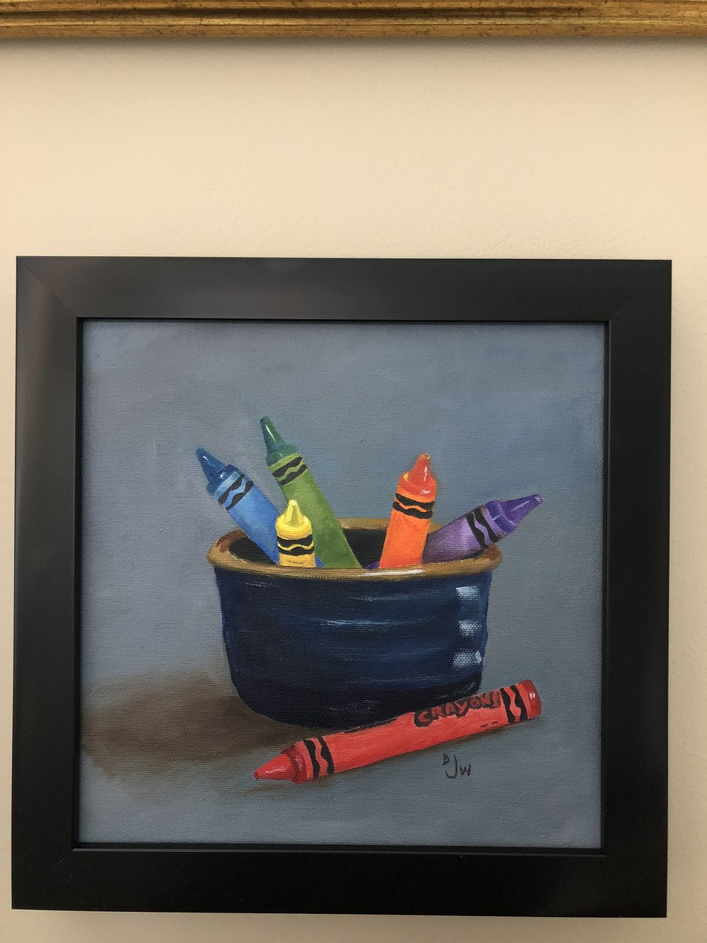Crayons with blue bowl