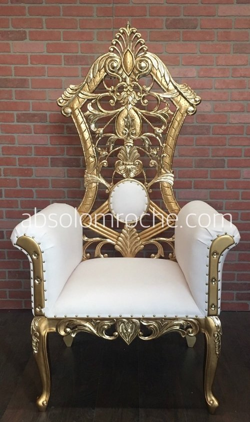 FACTORY SALE | Gotham Throne Chair - Gold/White - FACTORY SALE Gotham Throne Chair - Gold/White — Absolom Roche