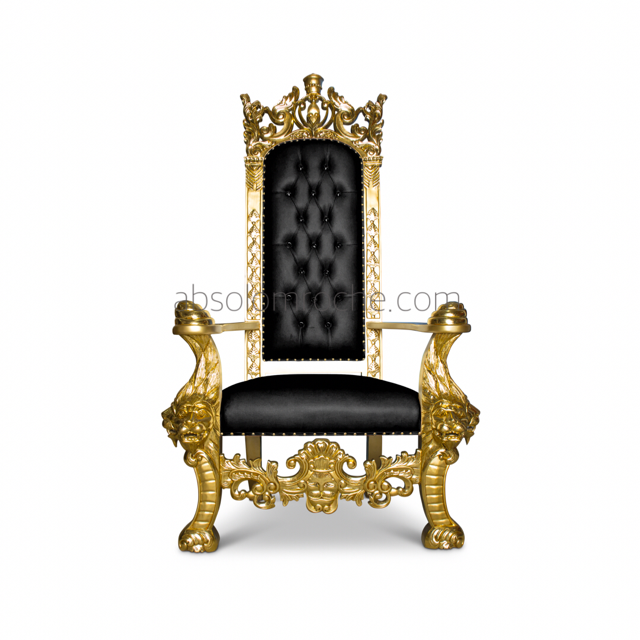 King Henry Lion Throne   Gold/Black