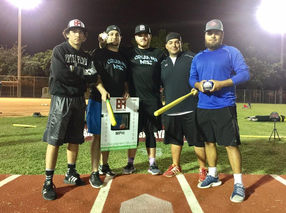 """""""Cutler Bay Boys"""" Damien Del Rosario, Iggy Del Rosario, Kyle Roberts, David Esqsuijarosa, Willy Espinosa."""