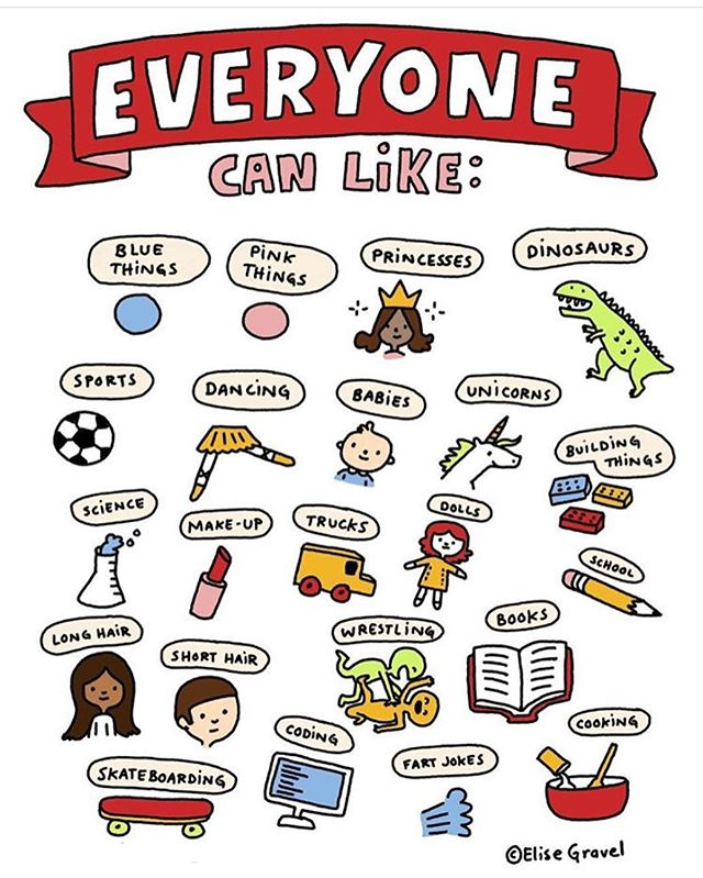 Boys Can Like...Girls Can Like...Everyone Can Like.... thanks @elise_gravel for breaking down gender-typed behaviors! . . . Repost: @elise_gravel I drew this to teach kids that their gender should not define what they like. Teachers and parents, feel free to print this for your homes and classrooms (no commercial uses allowed.) Download here: http://elisegravel.com/en/blog/everybody-can-like/