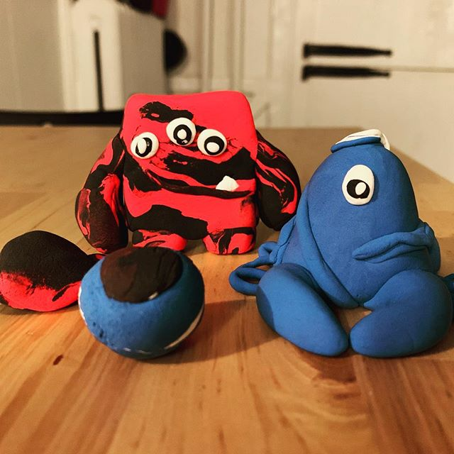 Introducing the Monsters!  Willie The Squid-Spider-Crab Watching The World With One Eye Open, Three, Ball Eye (the transforming ball monster rug) and Smasher.  Monster friends walking around extinguishing the bad guys!  The Adventure Begins! . . . #crayolaairdryclay #crayolakid #fouryearoldplay