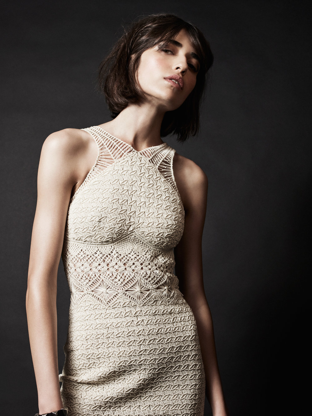 ivory cotton macramé dress