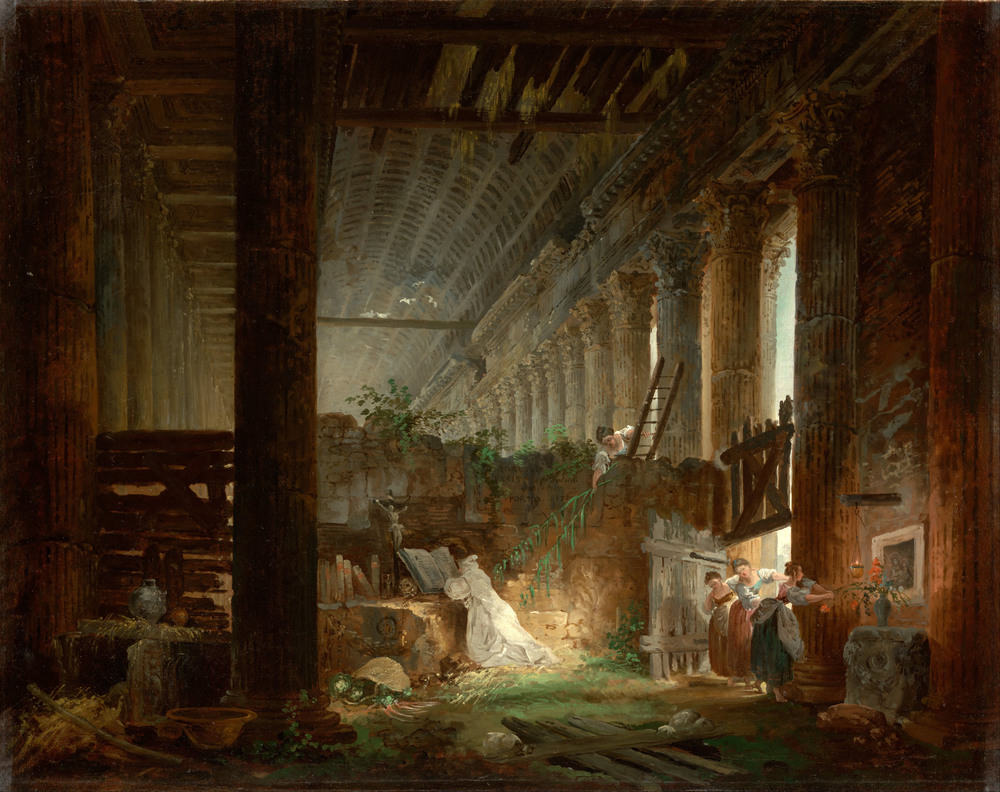 Hubert Robert - A Hermit Praying in the Ruins of a Roman Temple