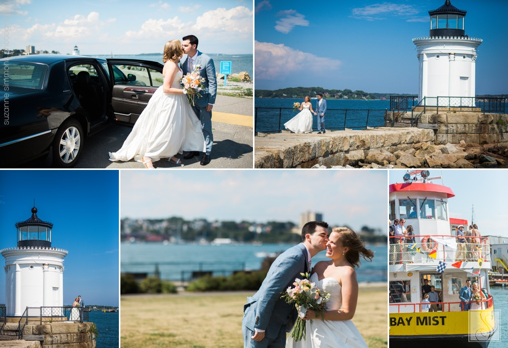 Maine wedding portraits at Bug Light