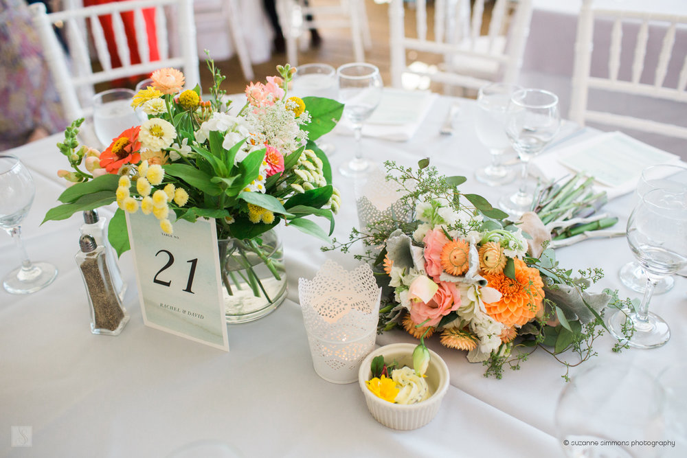 Maine wedding floral centerpieces