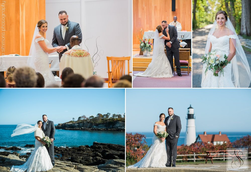 Wedding portraits at Portland Headlight in Cape Elizabeth