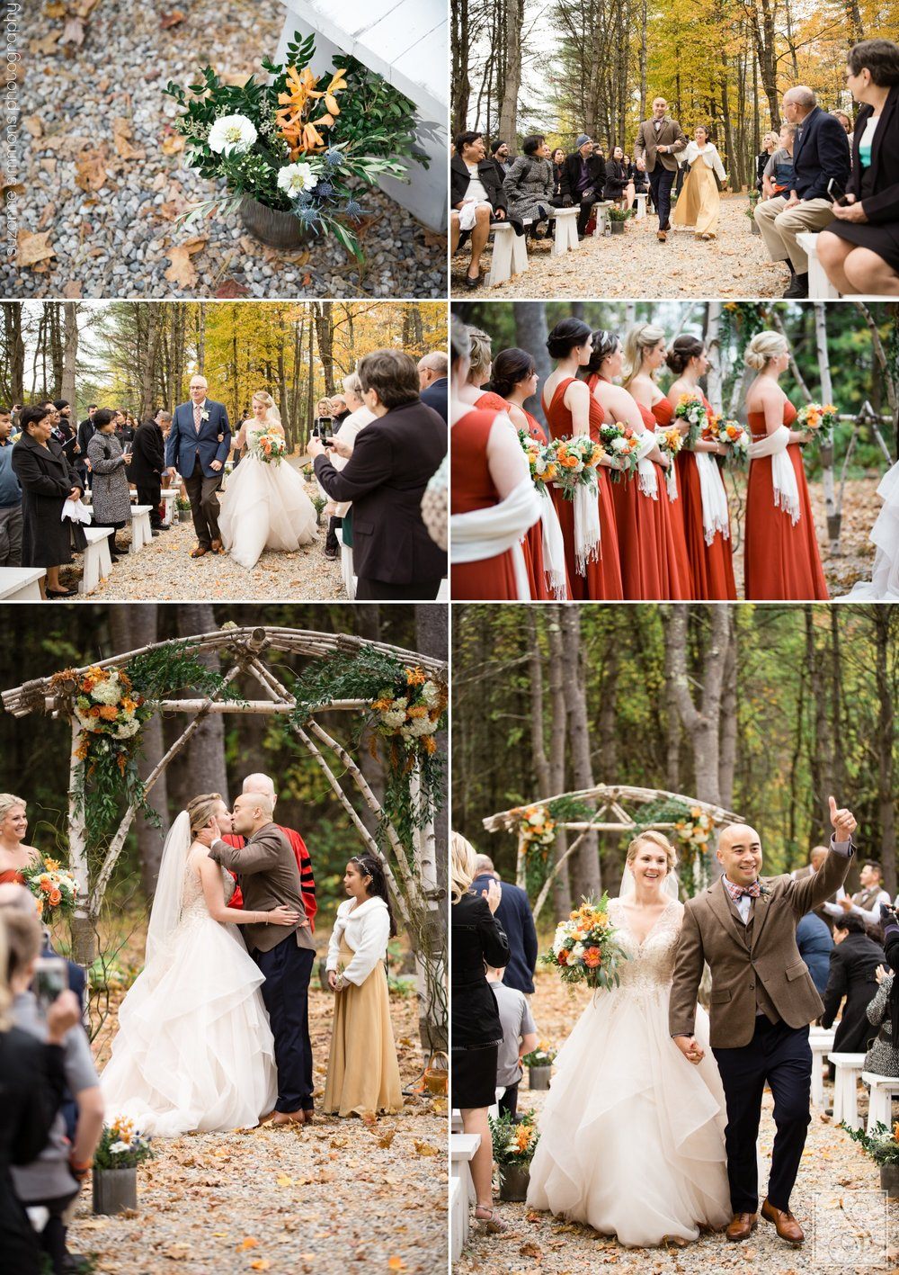 Woodland ceremony at The Barn at Flanagan Farm in Buxton, Maine