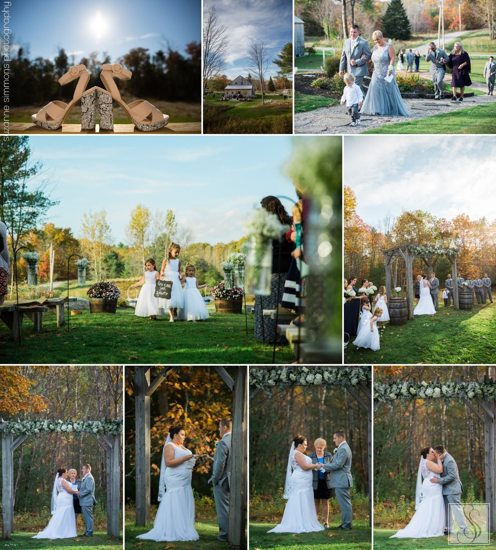 Wedding ceremony at the Hitching Post in Dayton, Maine
