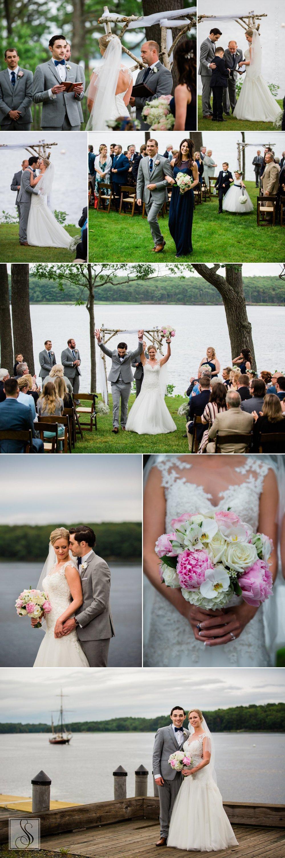 Wedding ceremony at Maine Maritime Museum in Bath, Maine