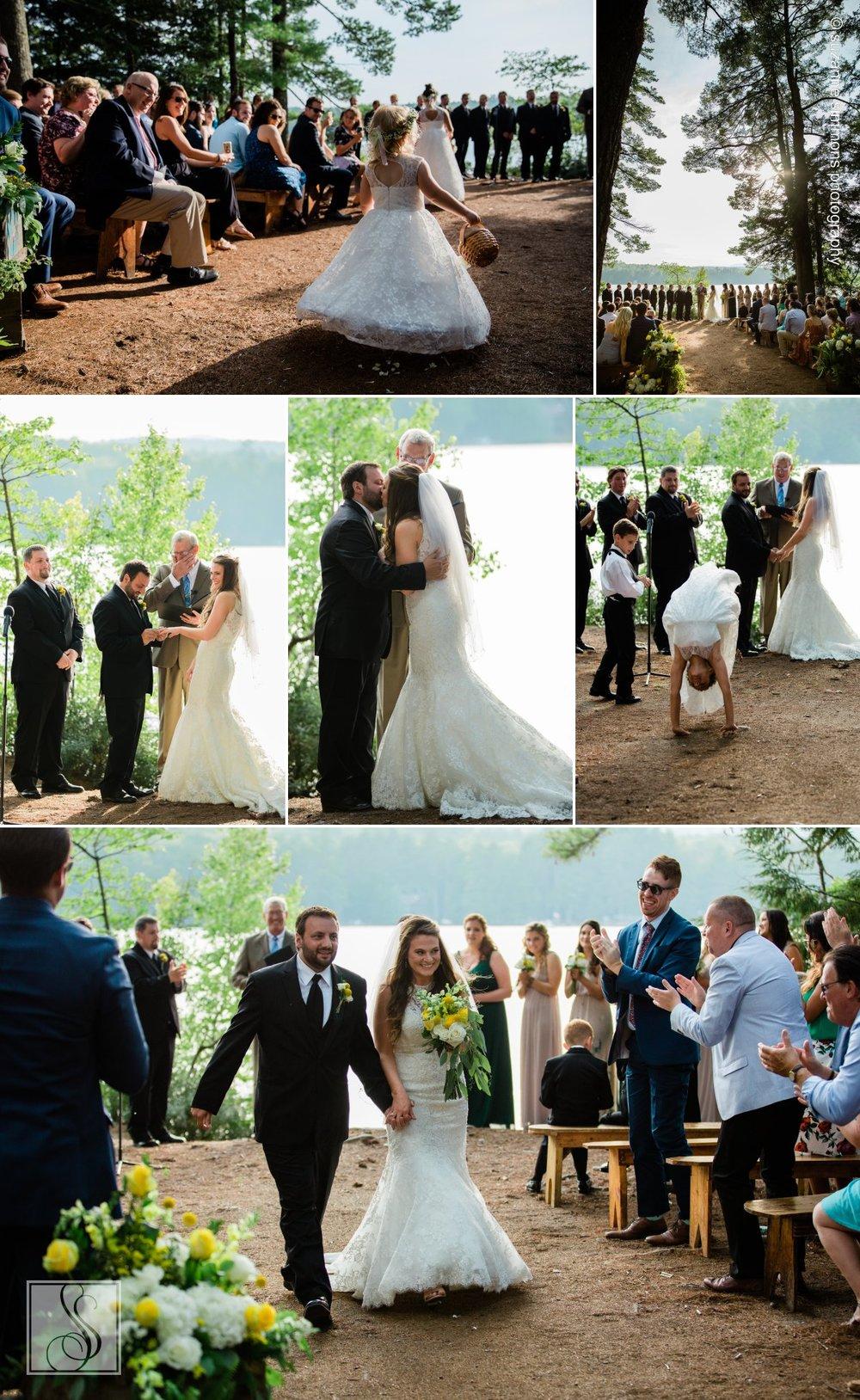 Lakeside wedding ceremony in Bridgton, Maine