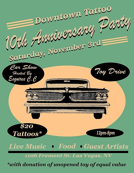 Downtown Tattoo 10th Anniversary Party Car Show Lets