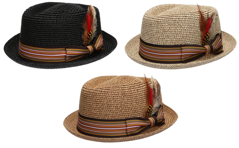 383918fc6b951 Men s Premium Summer Straw Porkpie Fedora Hat with Removable Feather ...
