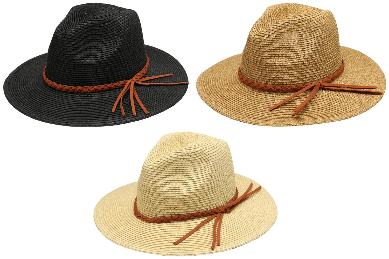 2a3e6b729b2 Women s Braid Straw Wide Brim Fedora Hat UPF 50+ w  Adjustable Drawstring