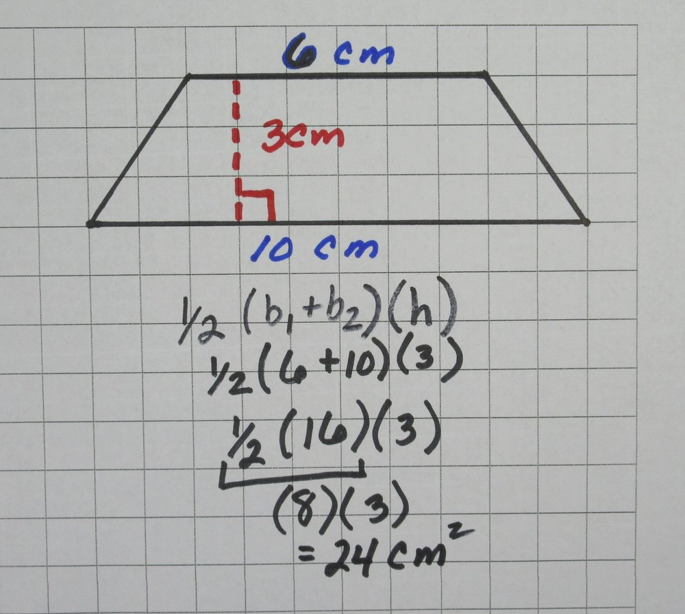 Example #3 - In this example we have a trapezoid with a bases of 10 and 6 and a height of 3. First we add up our bases to get 16 (10 + 6). Next we multiply 16 by 1/2 to get 8. (We could have divided by 2 instead of multiplying by 1/2). Finally we take 8 (which is the average of the two bases) and multiply it by the height (3) to find the area of this trapezoid which is 24 square units.