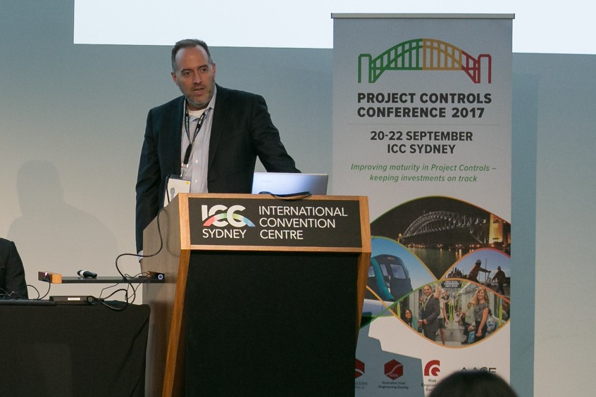 Ray Paulk, CEO of ProjectAI, leads a session on emerging technology trends in capital project controls at the inaugural Project Controls Conference at the International Convention Centre in Sydney, Australia (20 Sep 2017).