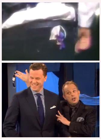 (TOP)1993,THE RING ON COPPERFIELD'S SHOE.(BELOW) APOLLO ROBBINS PICKPOCKETING ON GOOD MORNING AMERICA