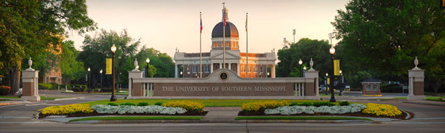 The University of Southern Mississippi main campus entrance. Photo Courtesy of  Conference USA.
