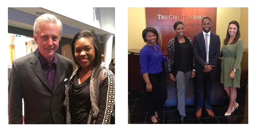 Left: Looser and I at the PRSSA 2016 Regional Conference in Tuscaloosa, AL. Right: Deonica Davis, Cirlot Graphic Designer,  D'Anthony Jackson, PRSSA Member, Lauren Neighbors, Cirlot Public Relations Strategist, and I gather in the lobby prior to a USM PRSSA Tour.