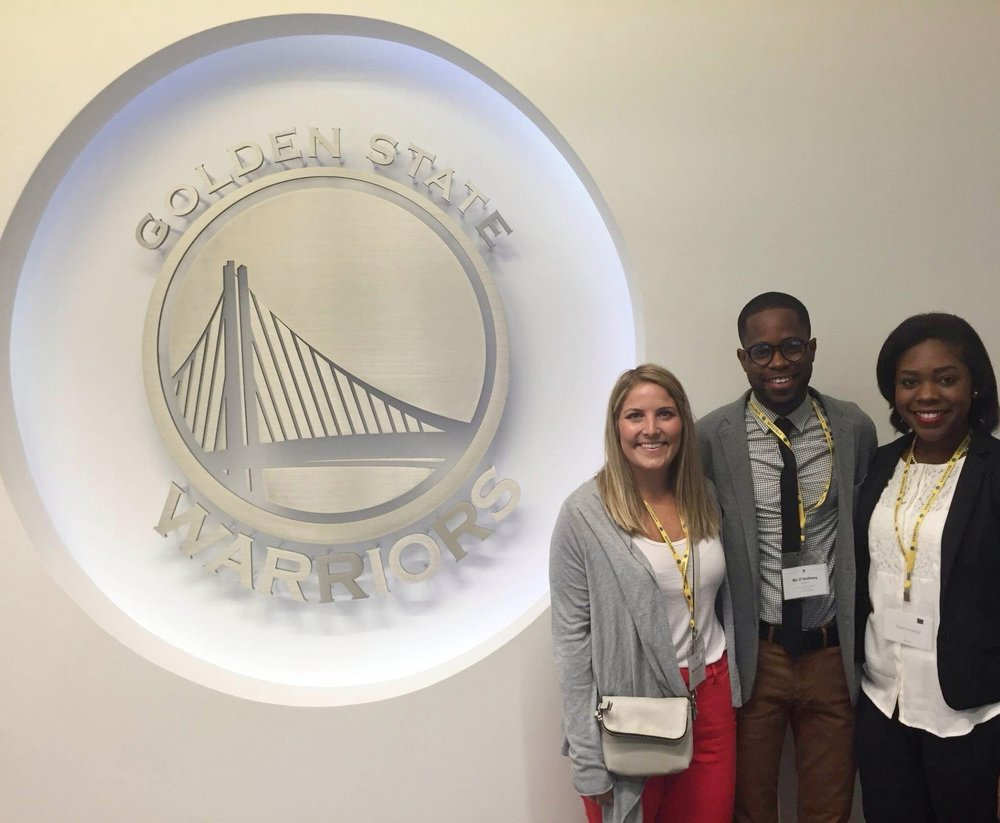 Chelsea Eytel, D'Anthony Jackson and I stopped for a photo while touring the Golden State Warriors' Headquarters and representing The University of Southern Mississippi.