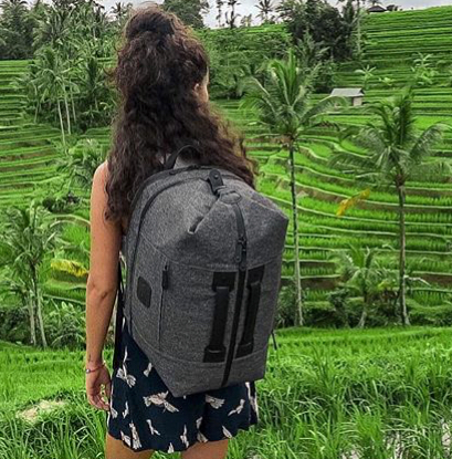This duffle backpack has a detachable laptop case and is a great option for traveling. Photo courtesy of  Wool and Oak  |  @woolandoak