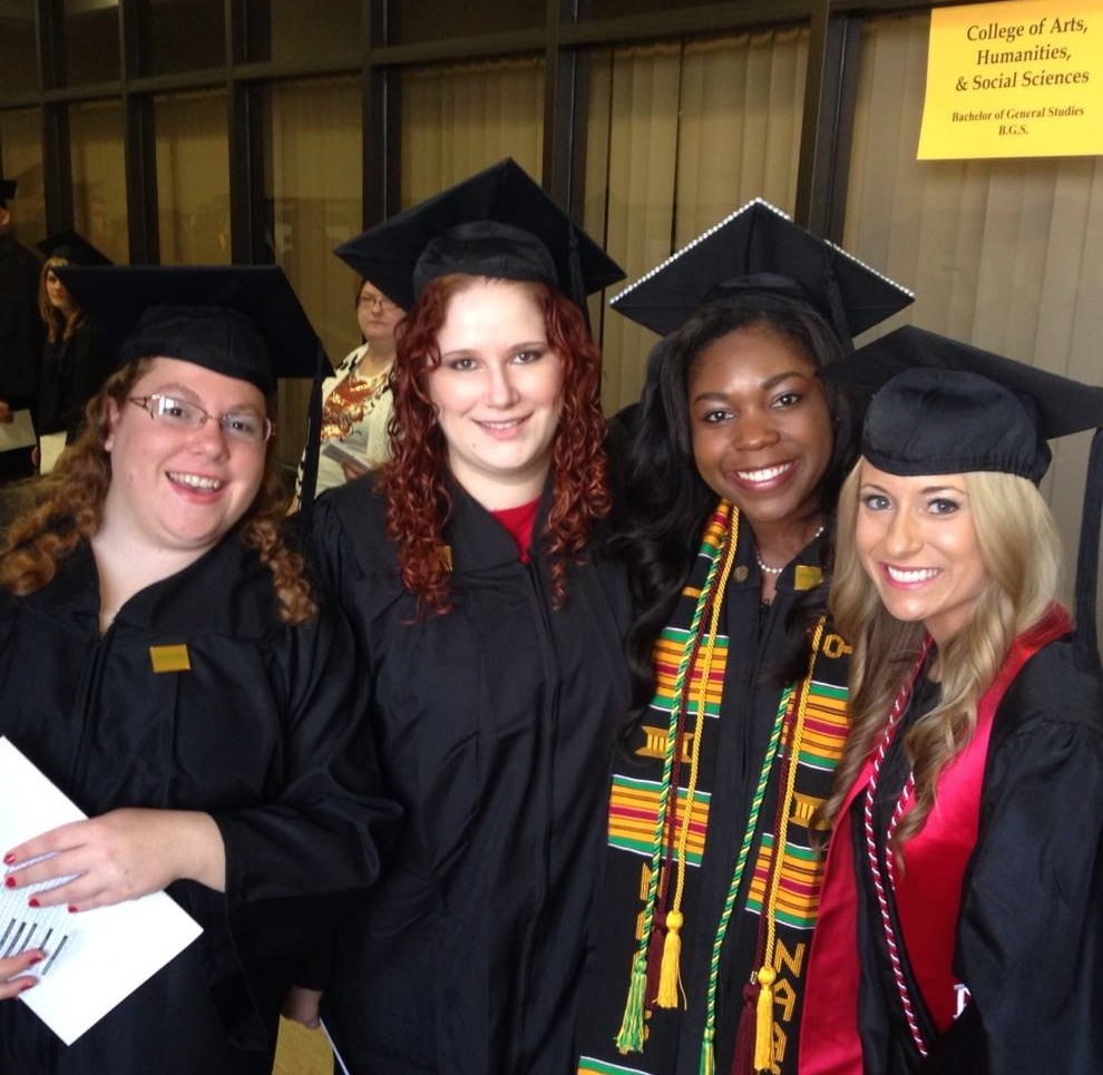 Before walking across the stage to receive our bachelor's degrees in communication we gathered for a group photos.