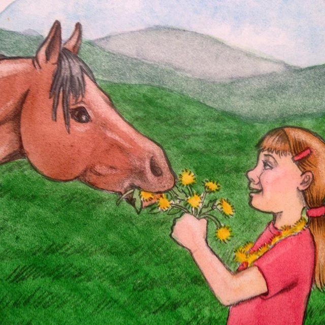 Vignette of a girl and her horse in the summer.#childrensbooks #childrensbookillustration #watercolor #cute #horse