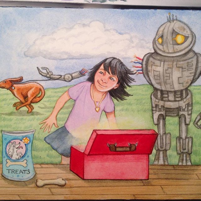 "Just finished, an illustration for SVS ""Third Thursday"" monthly prompt.#childrensbookillustration #childrensbooks #watercolor #robot #funny"